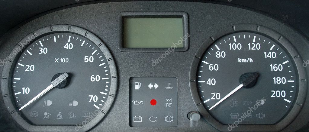 Grey dashboard of a new car. Front view. — Stock Photo #1229985