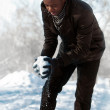African man with a snowflake — Stock Photo