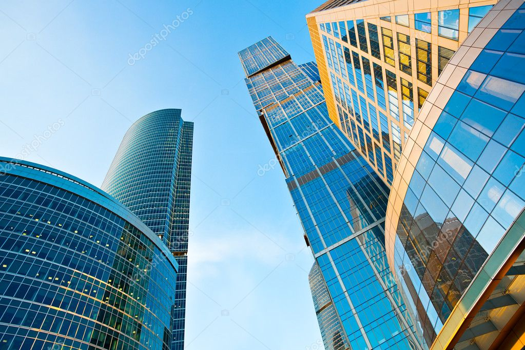 Modern skyscrapers towers in business centre perspective view — Stok fotoğraf #1187464