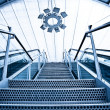Moving up escalators and stair — Stock Photo