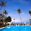 Pool and palms on sea shore — Foto Stock