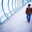 Blue transparent corridor and adult whit — Stock Photo