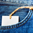 Jeans pocket with blank label — Stock Photo