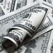 One hundred dollar banknotes background - Stock Photo