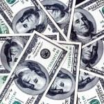 One hundred dollar banknotes background — Stock Photo
