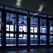 Doors silhouettes at modern airport — Stock Photo