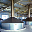 View to steel fermentation vats - Stock Photo