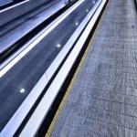Empty blue moving escalator — Stock Photo #1288648
