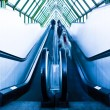 View to gray escalator in new trade cent - Stock Photo