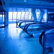 View to empty escalator  in new trade ce — Stock Photo