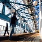 Blue foot bridge with metal construction — Stock Photo