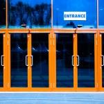 Orange doors of modern trade center — Stock Photo #1289064