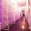 Long purple corridor in barbershop inter — Stock Photo