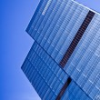 Two blue glass business skyscraper tower — Stock Photo