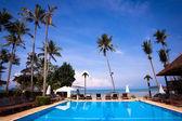 Piscina e palme sulla riva del mare — Foto Stock