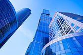 Modern blue skyscrapers towers — Foto Stock