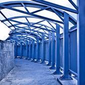 Empty blue corridor interior — Stock Photo