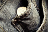 Jeans pockets with twenty cents coins — Stock Photo