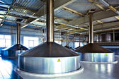 View to steel fermentation vats — Stock Photo