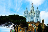 Gothic cathedral on the top of Tibidabu — Stock Photo