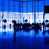 Blue airport hall — Stock Photo