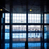 Blue empty hall — Stock Photo