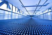 Camera lay on escalator view — Stock Photo
