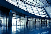 Wide blue hall — Stock Photo