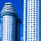 Blue skyscrapers towers — Stock Photo