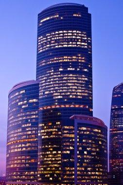 Violet-light modern skyscrapers