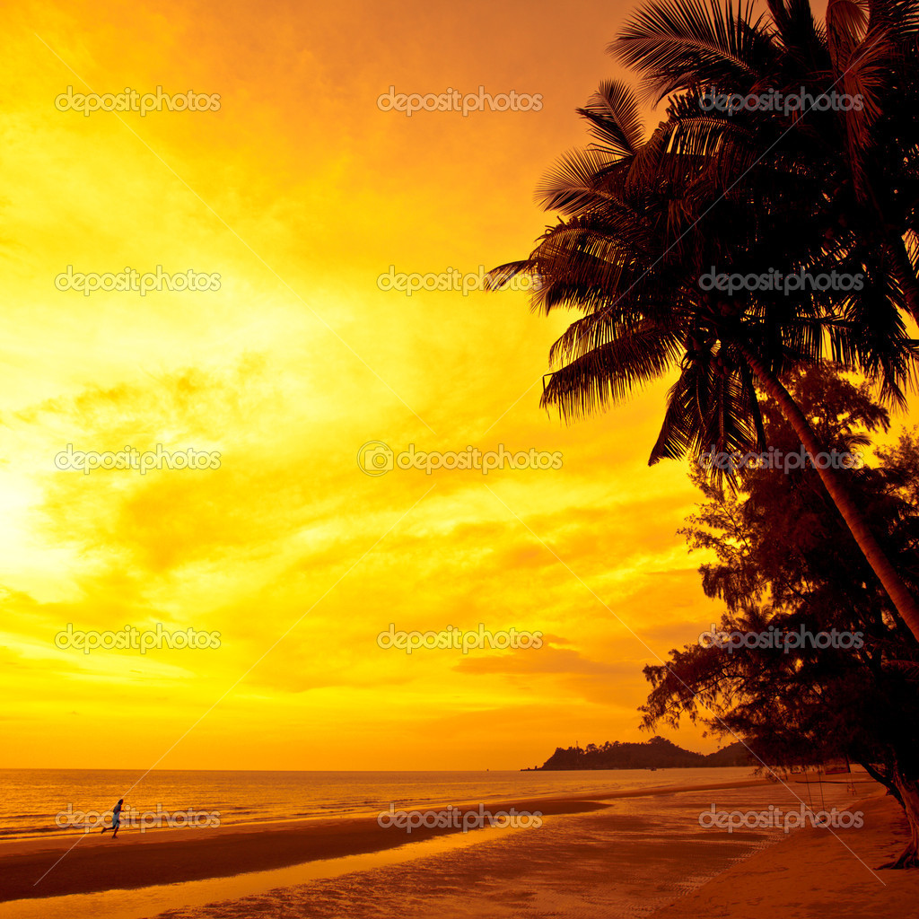 Coconut palms and sand beach, man running on sunset. Thailand, Koh Chang, Kai Bae beach — Stock Photo #1286727