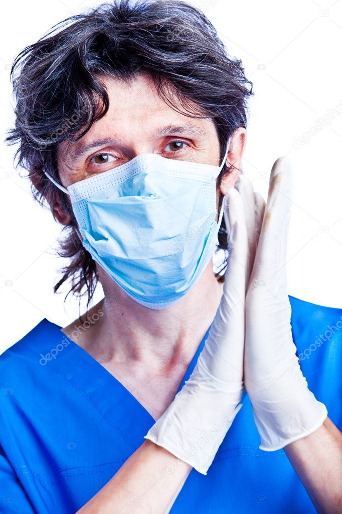 The portrait of adult smiling man - doctor applauds  — Stock Photo #1287338