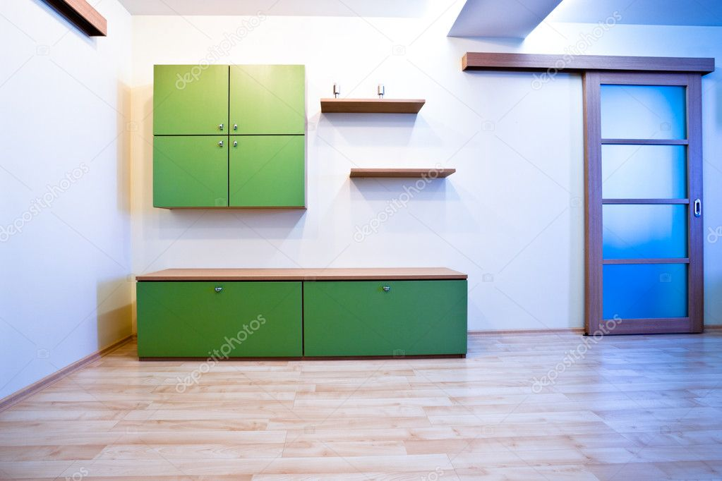 Emty hall with doors and green bookcases  Stockfoto #1289335