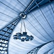Abstract blue ceiling with lamps — Stock Photo