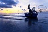 Fishing boat iin sea on sunset. Thailand — Stock Photo
