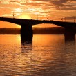 Sunset and bridge — Stock Photo