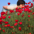 Girl on the poppies field 1 - 图库照片