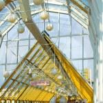 Yellow corridor blue sky windows — Stock Photo