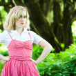 Blonde serious beautiful girl portrait — Stock Photo