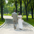 Walking couple — Stock Photo