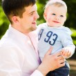 Royalty-Free Stock Photo: Father and son embrace