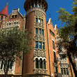 House with spires in Barcelona city - Stok fotoğraf