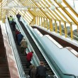 Diagonal escalators stairway in center - Stock Photo