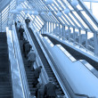 Diagonal escalators stairway in center — Stock Photo #1329738