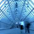 Stock Photo: Blue glass corridor in bridge