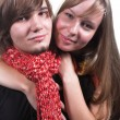 Guy with red scarf beautiful girl — Stock Photo