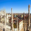 Panorama from Duomo roof, Milan, Italy - Stock Photo