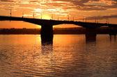 Sunset and bridge — Stock Photo