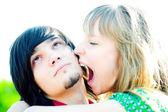 Girl sting emo boy — Stock Photo