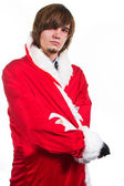 Guy in costume with red and white coat — Stock Photo